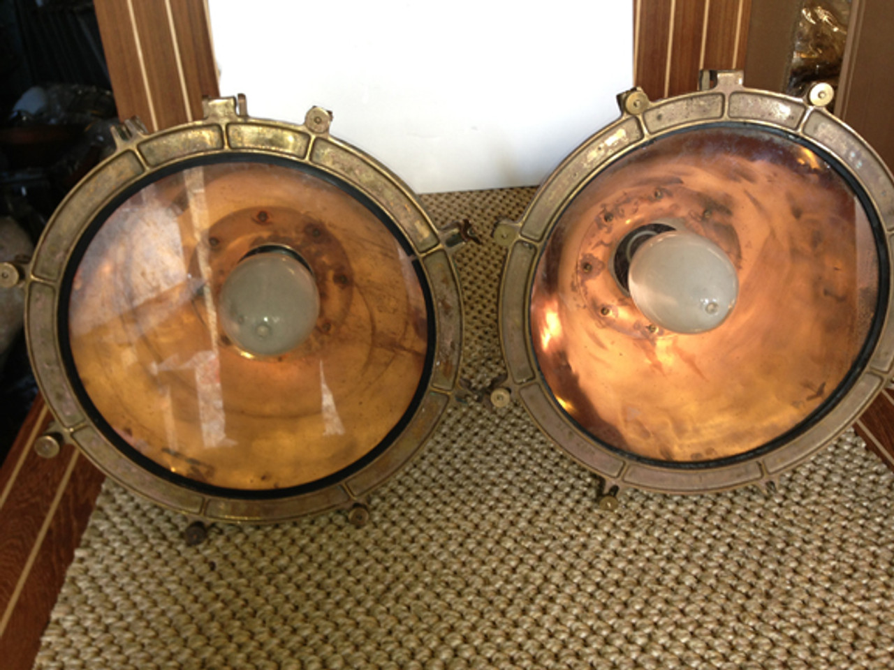 cargo light with copper inside finish