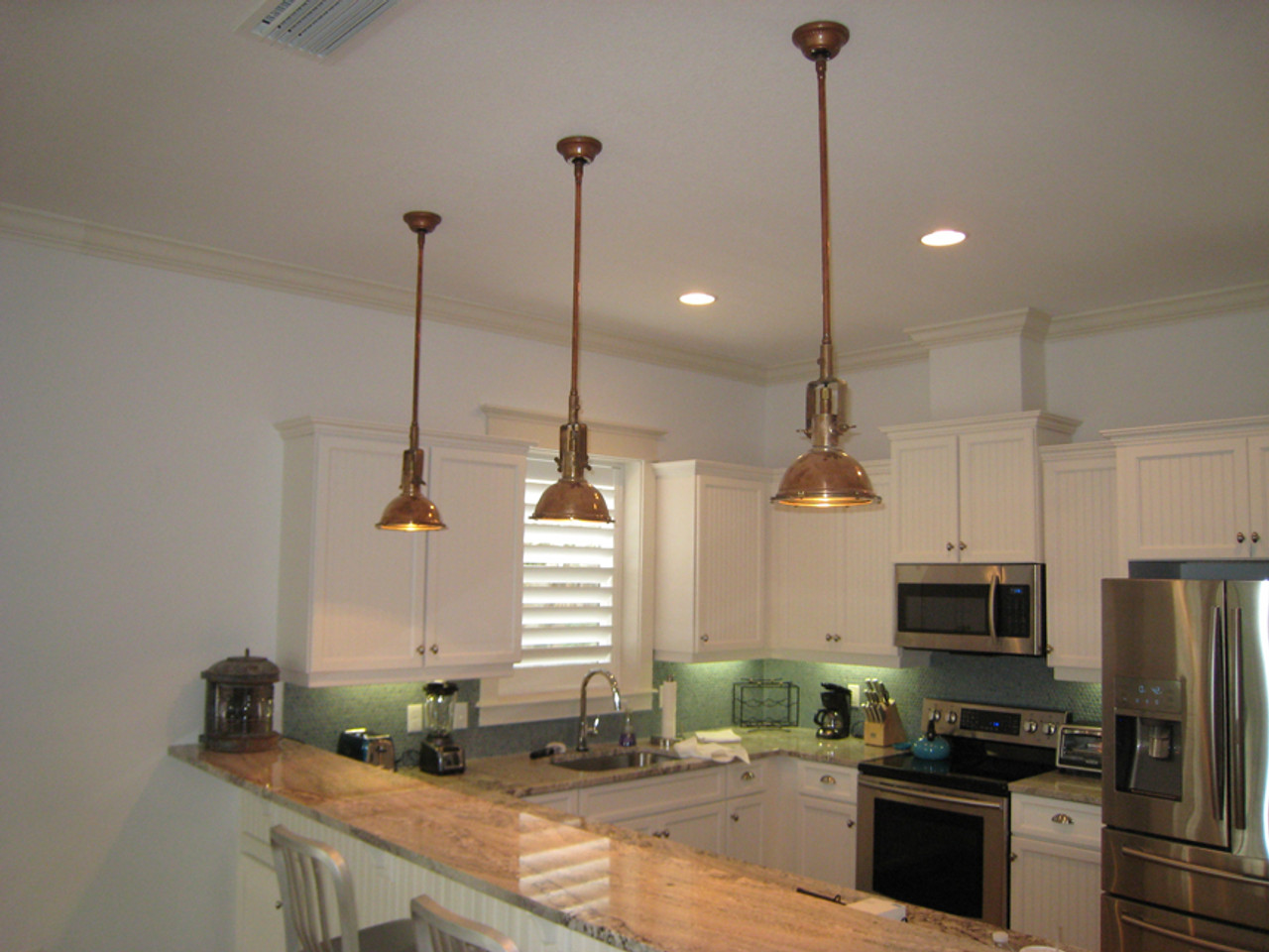 copper nautical kitchen lights