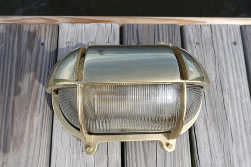 brass hooded nautical light