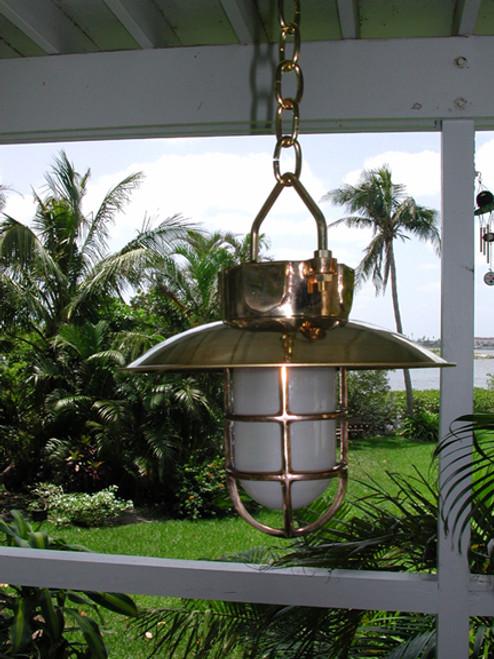 hanging hooded brass nautical ship light