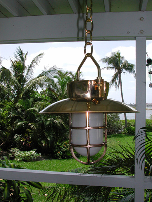 hanging hooded brass nautical ship light
