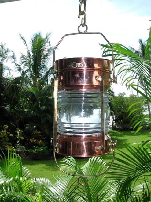 vintage polished copper hanging nautical light