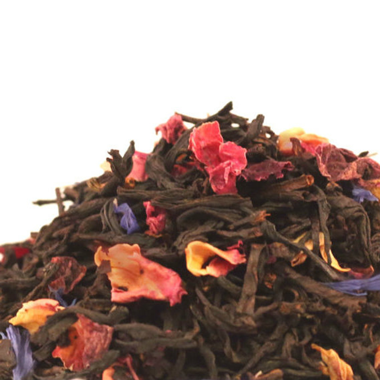 Our hand blended English Rose Black combines high quality Indian and Ceylon black teas with rose petals and natural rose flavoring for a delicate floral cup that is perfectly balanced with just the right notes to highlight the beauty of this traditional English favorite. Perfect hot with a splash of cream or iced with or without sweetener as you wish. This tea benefits from a shortened brewing time of 2 ½- 3 minutes if a lighter delicate cup is preferred.