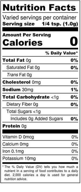Beef and Pork Rib Rub Nutrition Panel