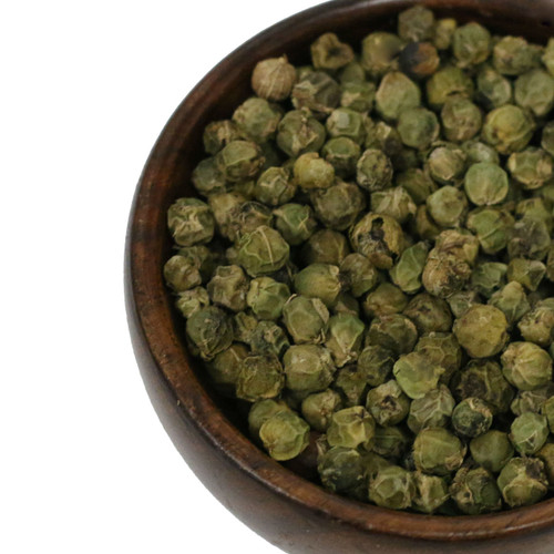 Green Peppercorns are harvested and dried before they reach maturity, and hence, have a lighter, fresher, more herbal flavor than black peppercorns. French green peppercorn sauce-made with shallots, white wine, cream and mustard-is a classic combination with steak, but try it with pork, chicken or fish as well. Add ground or cracked green peppercorns to cracker or flatbread recipes for a flavorful kick.
