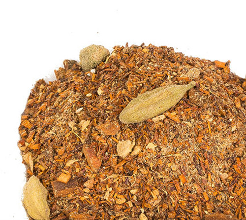If you like an authentic spicy Chai but want to avoid the caffeine we have a perfect option for you. Our Red Chai Rooibos is hand blended using red rooibos herbal tea along with a combination of ginger, cloves, cardamom, cinnamon and black pepper. The rooibos creates a remarkable authentic chai flavor and our fresh spices provide the perfect flavor compliment. Just add milk, sweetener and froth to make your own decaf chai latte. Steep: 1-1.5 tsp, Boiling Water, 3-5 Minutes