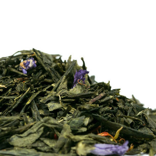 Mango and Passion Fruit Green brings together an excellent Sencha with the luscious flavor of mango and passion fruit while also sprinkled with a visually stunning array of blue mallow, safflower, marigold and corn flowers. The stimulating aroma will keep you coming back for more of this fruity and slightly floral white tea. Delicious hot or iced. Steep: 1-1.5 tsp, 185 degrees for 2-3 Minutes