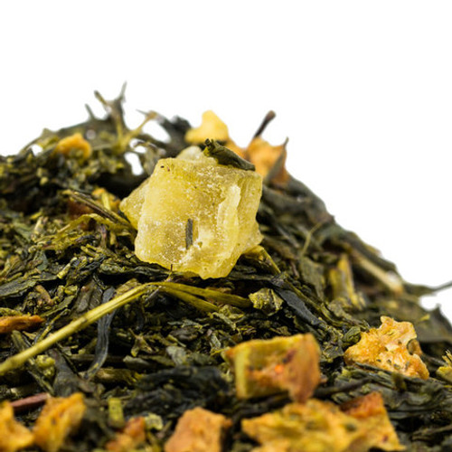 Orange Pineapple Green tea perfectly showcases how well the grassy notes of green tea pairs with citrus of the orange and the sweetness of the bitter sweetness of pineapple. This tea pleasantly awakens the senses with every sip. Try Orange Pineapple chilled and you won't be disappointed. Steep: 1-1.5 tsp, 185 degrees for 2-3 Minutes