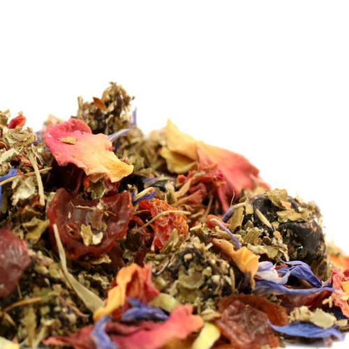 Berries and roses are blended to create the vibrant magenta base for our one-of-a-kind prickly pear herbal tea. Perfect for any long, hot summer afternoon, this tea is beautiful served over ice and lends well for a mature cocktail. Steep: 2-3 tsp, Boiling Water, 5-7 Minutes