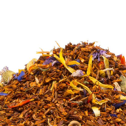Mango and Passion Fruit Rooibos brings together caffeine free South African Rooibos with the luscious flavor of mango and passion fruit while also sprinkled with a visually stunning array of blue mallow, safflower, marigold and corn flowers. The stimulating aroma will keep you coming back for more of this fruity and slightly floral white tea. Delicious hot or iced. Steep: 1-1.5 tsp, Boiling Water, 3-5 Minutes