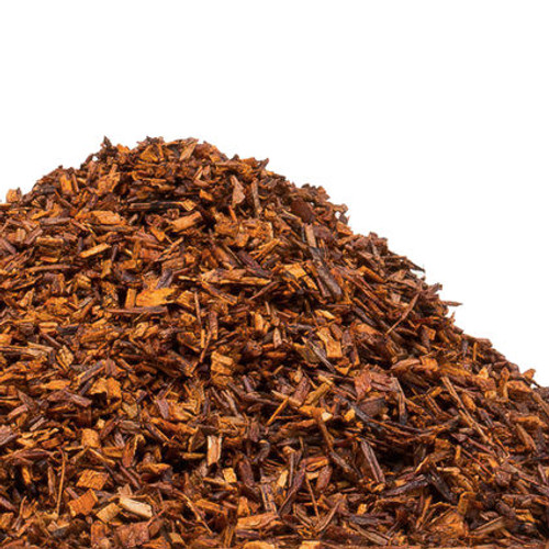 South African Rooibos (roy-boss) is commonly referred to as red bush tea and is a delicious caffeine-free alternative to black tea. Rooibos is naturally high in antioxidants and has a subtly sweet, some may detect citrus and vanilla notes, and nutty flavor. Rooibos holds up well to cream and takes to flavor infusions as well as traditional tea (Camellia Sinensis) does. If you are a DIY home blender you should get to know South African Rooibos. Steep: 1-1.5 tsp, Boiling Water, 3-5 Minutes