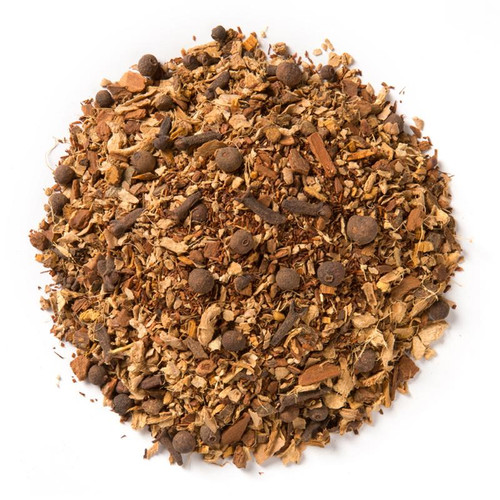 Our pumpkin spice chai combines rooibos with a heady medley of spices to create a rich and potent cup of this seasonal caffeine-free tea