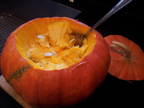 Clean pumpkin well removing seeds and stringy innards.