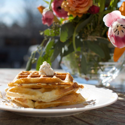 Belgian Waffles or Liege Waffles with Lavender Honey Butter