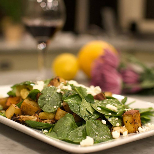 Roasted Winter Vegetable Salad with Wilted Spinach