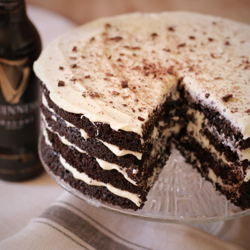 Dark Chocolate Stout Cake with Baileys Cream Cheese Frosting