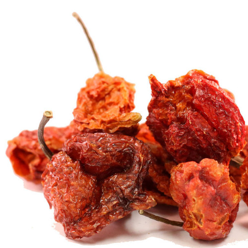 A Carolina Reaper Chile was awarded the Guinness World Record for the Hottest Chile in 2013, so know these dried chiles are EXTREMELY HOT, take realistic precautions when cooking with Carolina Reaper Chiles as they average between 1,500,000 and 2,000,000 Scoville Heat Units, or about 5 times as hot as the typical Habanero Chile! Best used when added to a recipe where its heat can be tempered with other flavors. Use sparingly to add sweet, bright heat to foods. Add to enchilada sauce, chili sauce or marinades.