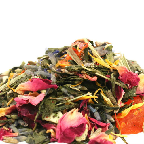 Our handcrafted Lavender Peach Green combines sweet, sun-kissed peaches, relaxing and soothing lavender and refreshing and invigorating Chinese sencha green tea to create a wonderfully balanced and lightly caffeinated tea. Spring and summer flavors come to life when steeped hot or brewed cold…it tastes great either way.