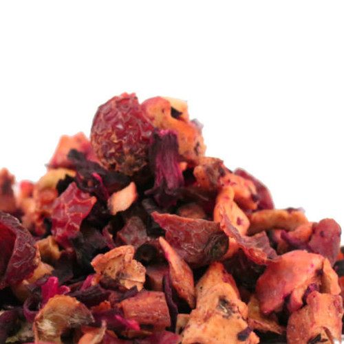 For beautiful Strawberry Kiwi Fruit Tea, we blend strawberries and dried fruit pieces with strawberry and kiwi flavors to create a vibrant ruby red drink. It looks festive brewed in a glass teapot, and tastes delicious hot or iced.