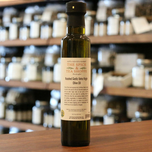 Roasted Garlic Extra Virgin Olive Oil - One of the most popular oils of all time, there is really no end to the uses for this oil. Flavorful roasted garlic and our extra virgin olive oil are such a natural combination and are ideal for sauteing meat or shrimp and other fish and seafood dishes. Excellent for roasting vegetables, in mashed potatoes. It is great tossed with pasta, on salads, as a sandwich spread, for bread dipping and in marinades. Pairs well with any of our balsamic vinegars.