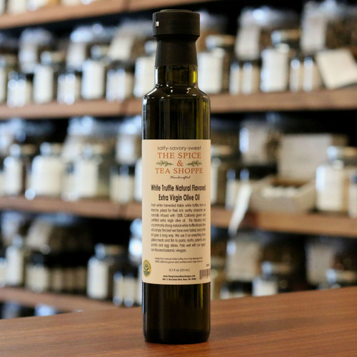 White Truffle Natural Flavored Extra Virgin Olive Oil - Fresh winter harvested Italian white truffles from Le Marche, prized for their rich, earthy character are naturally infused with 100% California grown and certified extra virgin olive oil.  This fabulous and uncommonly strong natural white-truffle infused olive oil is simply the best we have ever tasted, and a little bit goes a long way. We use it on everything from grilled meats and fish to pasta, risotto, polenta and potato and egg dishes. Pairs well with our aged, non-flavored balsamic vinegars.