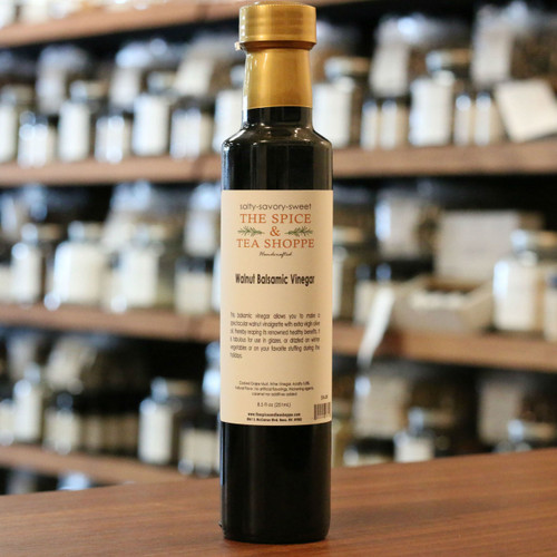 Walnut Balsamic Vinegar - This balsamic vinegar allows you to make a spectacular walnut vinaigrette with extra virgin olive oil, thereby reaping its renowned healthy benefits. It is fabulous for use in glazes, or drizzled on winter vegetables or on your favorite stuffing during the holidays.