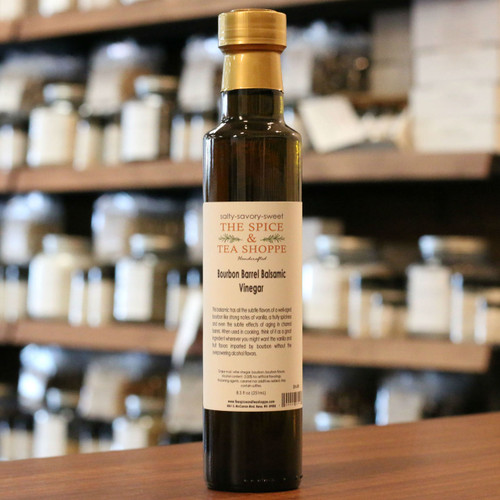 Bourbon Barrel Balsamic Vinegar - This balsamic has all the subtle flavors of a well-aged bourbon like strong notes of vanilla, a fruity spiciness and even the subtle effects of aging in charred barrels. When used in cooking, think of it as a great ingredient wherever you might want the vanilla and fruit flavors imparted by bourbon without the overpowering alcohol flavors.