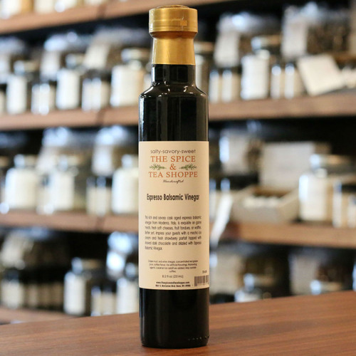 Espresso Balsamic Vinegar - This rich and savory cask aged espresso balsamic vinegar from Modena, Italy, is exquisite on game meats, fresh soft cheeses, fruit fondues, or waffles. Better yet, impress your guests with a mocha ice cream and fresh strawberry parfait topped with shaved dark chocolate and drizzled with Espresso Balsamic Vinegar.