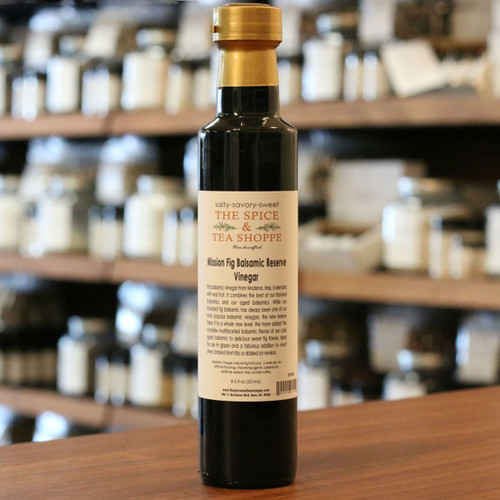 Mission Fig Balsamic Reserve Vinegar - This balsamic vinegar from Modena, Italy, is blended with real fruit. It combines the best of our flavored balsamics and our aged balsamics. While our standard fig balsamic has always been one of our most popular balsamic vinegars, the new reserve takes it to a whole new level. We have added the complex multifaceted balsamic flavors of our cask aged balsamic to delicious sweet fig flavors. Ideal for use in glazes and a fabulous addition to meat stews, braised short ribs or drizzled on venison.