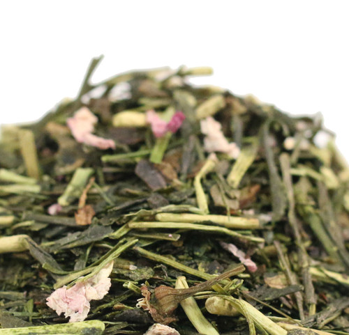 The sweet taste and the aroma of the flower petals and cherry blossom leaves complement the smooth taste of this rich Japanese sencha. This is a lightly scented tea using traditional Japanese methods of real spring cherry and no added flavors of any kind are used. Highly regarded and quite rare the flavor is reminiscent of Sakura Mochi a traditional Springtime treat in Japan.