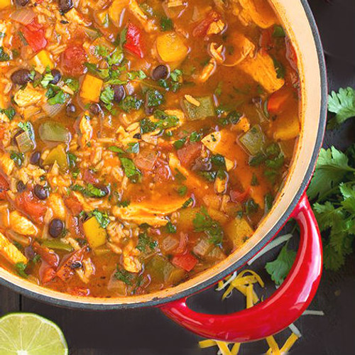 Chicken fajita soup with black beans and rice.