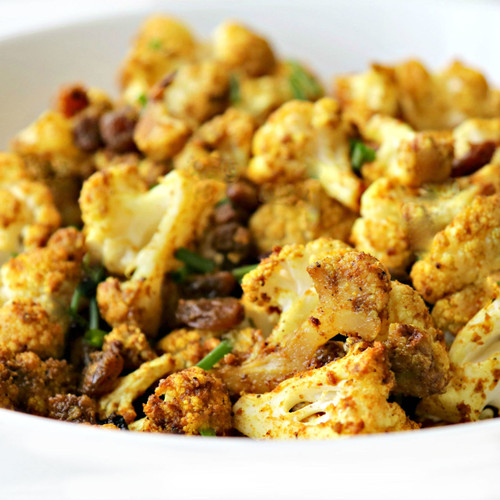 Cauliflower Curry with Raisins and Nuts