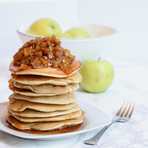 Apple Pie Pancakes with Warm Apple Compote
