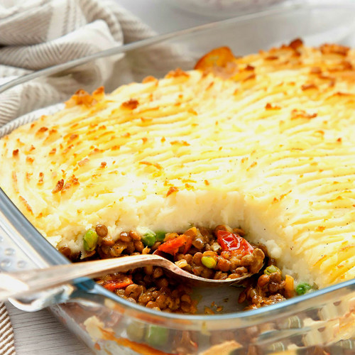 Vegetarian Shepherd's Pie with Lentils and Potatoes