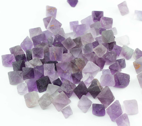 6 x Purple Fluorite Octahedron Grid Set