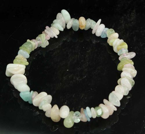 Beryl Morganite Aquamarine Chip Bracelet 4