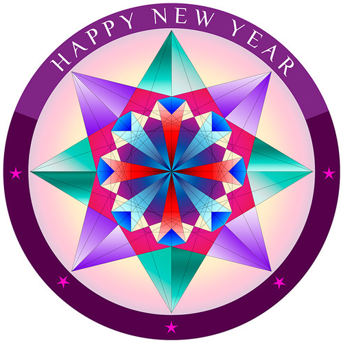 Jain 108 Happy New Year Decals x 2