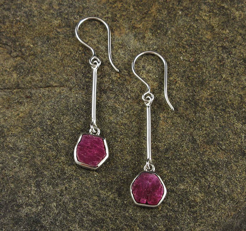 Ruby Sterling Silver Earrings 2