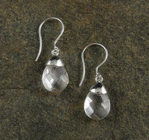 Clear Quartz Faceted Earrings