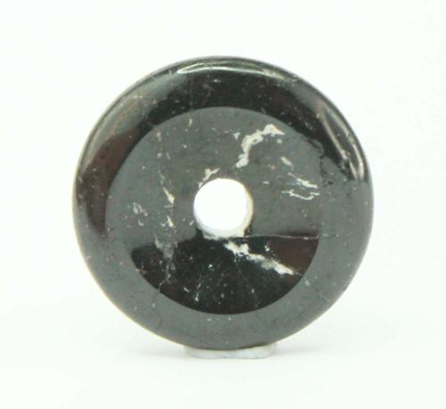 Black Tourmaline Donut Pendant 25mm