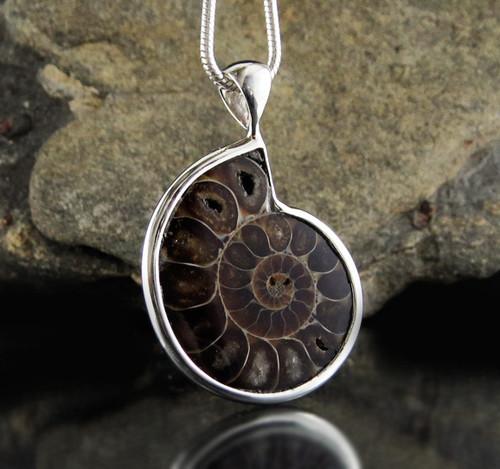 Ammonite Sterling Silver Pendant 3