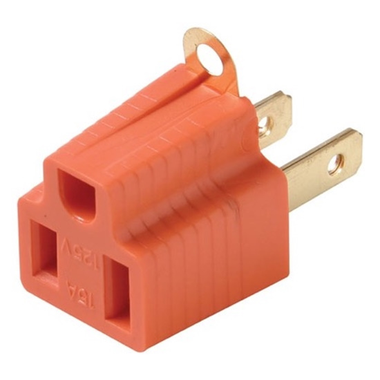 3 to 2 Prong Outlet Grounding Adapter AC Polarized 15A 125V for Fireplaces