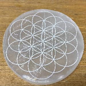 Engraved Selenite Disc Flower of Life