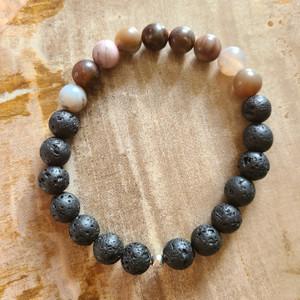 Petrified Wood + Lava Rock Bracelet