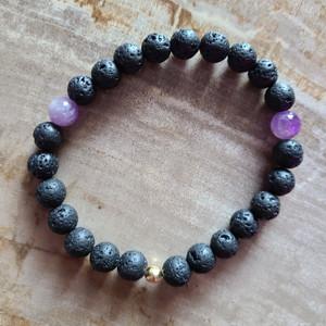 Banded Amethyst + Lava Rock Bracelet