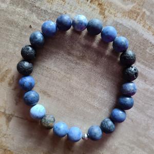 Dumortierite + Lava Rock Bracelet