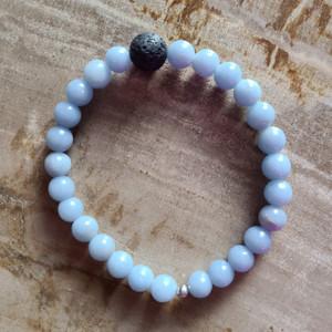 Angelite + Lava Rock Bracelet