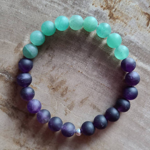 Amethyst + Green Adventurine Bracelet (matte)