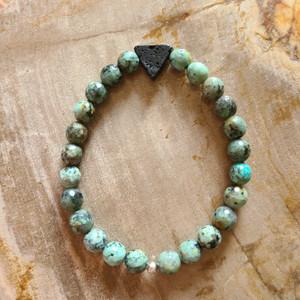 African Turquoise + Lava Rock Bracelet
