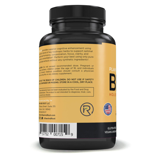 Raw and Root Plant-Based Nutrients Brain Holistic Nootropic Herbs description  BRAIN provides superior cognitive enhancement using a holistic blend of key nootropic herbs to support optimal mental performance, concentration, focus, clarity, and memory consolidation.† Perform your best using only pure raw herbal extracts without any synthetic ingredients.  PREMIUM PLANT-BASED BRAIN SUPPLEMENT: BRAIN formula is a nootropic, meaning it's composed of herbs that increase cognition, enhance learning and memory, and improve mental clarity, focus, and concentration.† It contains high-quality herbs known to increase oxygen and blood flow to the brain, such as Lion's Mane mushroom, Rhodiola, Bacopa, Ginkgo and Huperzia.† CLINICALLY FORMULATED BIOHACKING BRAIN SUPPORT: If you are looking for the best herbal mental performance enhancement supplement on the market, then BRAIN was made just for you! It has been carefully formulated by a clinical Herbalist to ensure you function at optimal mental performance levels all day long.† Performance matters!† STIMULATE CREATIVITY NATURALLY WITHOUT CAFFEINE: Prevent mental fatigue and fogginess! BRAIN formula activates the creative processes in your brain, getting you into the zone quicker and keeping you there longer.† Our holistic blend of natural herbs will boost your mental energy and alertness, allowing you to be calm and poised in times of stress.† SUPPORT OPTIMAL BRAIN & MEMORY HEALTH: Let's face it, our mind and memories are the pinnacle of our self-identity. Losing access to memories is not pleasant. BRAIN formula supports healthy brain function, memory enhancement, and may even help regenerate damaged nerves.† VEGETARIAN CAPSULES, FREE OF PRESERVATIVES, FILLERS, BINDERS, ARTIFICIAL COLORS. Serving Size: 2 (two) capsules (1000 mg). 60 capsules (30 day supply). Non-GMO, Vegan, and Gluten-Free. Proudly made in USA.